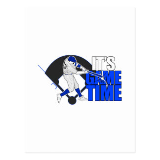 It s Game Time - Baseball Blue Postcard