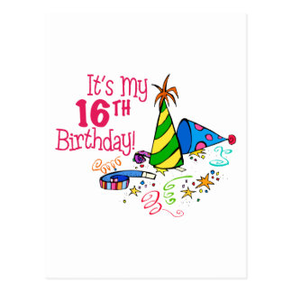 It s My 16th Birthday Party Hats Postcards
