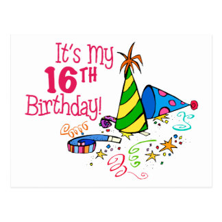 It s My 16th Birthday Party Hats Post Cards