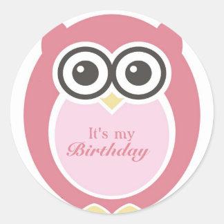 It s My Birthday Stickers Cute Pink Owl Cartoon