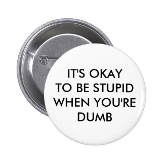 IT S OKAY TO BE STUPID WHEN YOU RE DUMB PINBACK BUTTONS