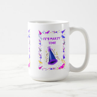 It(s party time, party hat basic white mug