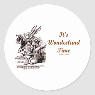 It s Wonderland Time White Rabbit With Trumpet Stickers
