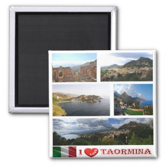 IT - Sicily - Taormina - I Love - Collage Mosaic Square Magnet