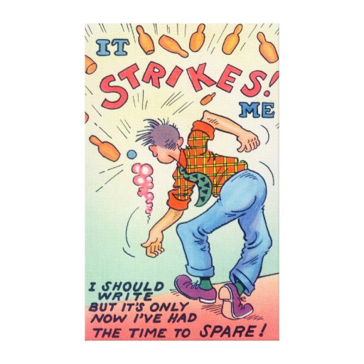 It Strikes Me, Cartoon Man Bowling Gallery Wrapped Canvas