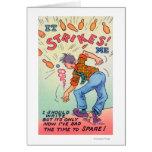 It Strikes Me, Cartoon Man Bowling Greeting Card