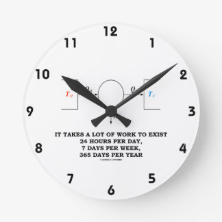 It Takes A Lot Of Work To Exist (Thermodynamics) Wall Clock