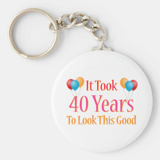 It Took 40 Years To Look This Good Basic Round Button Key Ring