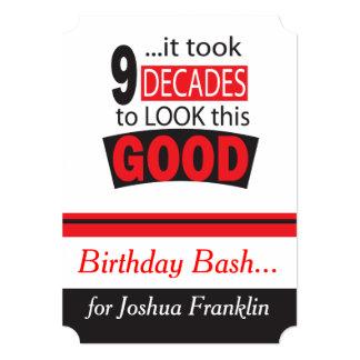 It Took 9 Decades to Look this Good  90th Birthday 13 Cm X 18 Cm Invitation Card