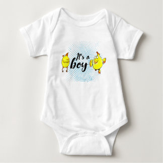 """It'a a boy"" sign with yellow chickens characters Baby Bodysuit"