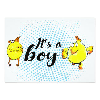 """It'a a boy"" sign with yellow chickens characters Card"
