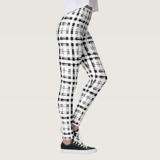 Itajime Shibori Black Check Plaid Geometric Weave Leggings