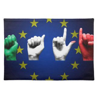 italia europe black placemat