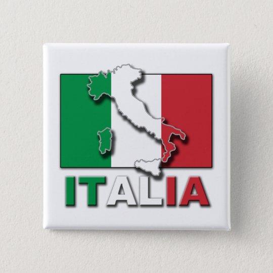 Italia Flag Land 15 Cm Square Badge