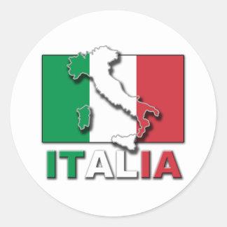 Italia Flag Land Round Sticker