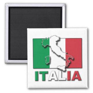 Italia Flag Land Square Magnet