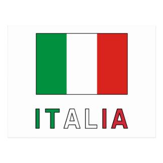Italia Flag & Word Postcard