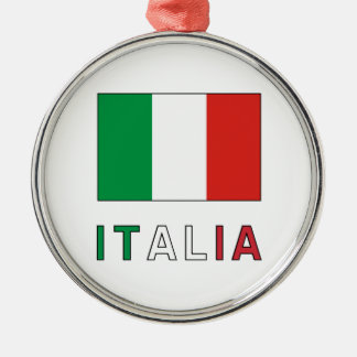Italia Flag & Word Silver-Colored Round Decoration