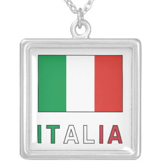 Italia Flag & Word Silver Plated Necklace