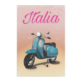Italia Scooter travel poster Acrylic Wall Art