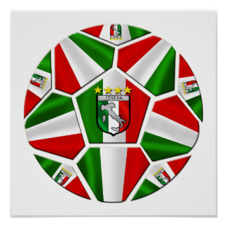 Italia soccer ball Italian flag of Italy panels Poster