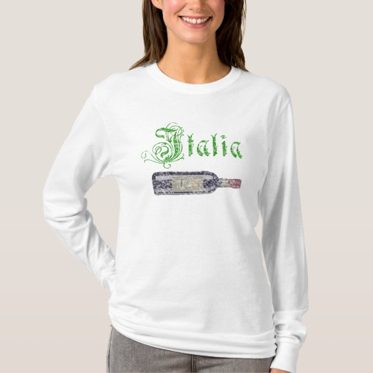 Italia Wine Bottle Womens Vintage Hoodie Shirt