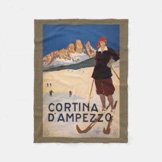 Italian Alps vintage travel fleece blanket