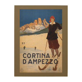 Italian Alps vintage travel wood canvas