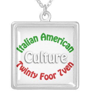 Italian American Culture Square Pendant Necklace