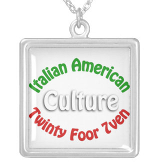 Italian American Culture Square Pendant Necklace