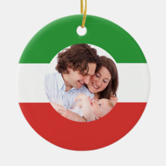 Italian-American Family Custom Photo Christmas Round Ceramic Decoration