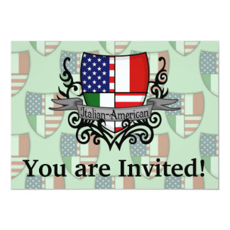 Italian-American Shield Flag 13 Cm X 18 Cm Invitation Card