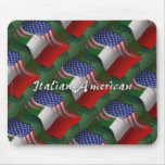 Italian-American Waving Flag Mouse Pad