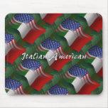 Italian-American Waving Flag Mouse Pad