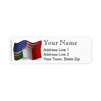 Italian-American Waving Flag Return Address Label
