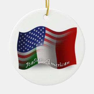 Italian-American Waving Flag Round Ceramic Decoration