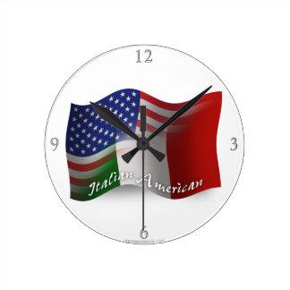 Italian-American Waving Flag Round Clock