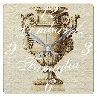 Italian Ancient Grecian Urn Amphora Name Clock