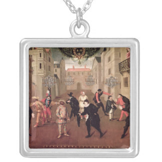 Italian and French Comedians Silver Plated Necklace