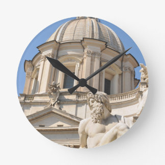 Italian architecture in Piazza Navona,Rome, Italy Round Clock