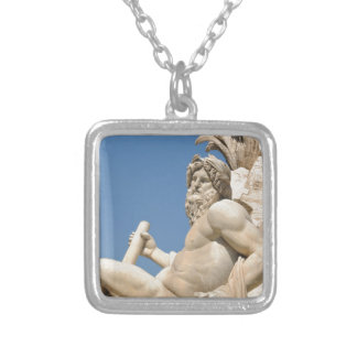 Italian architecture in Piazza Navona,Rome, Italy Silver Plated Necklace