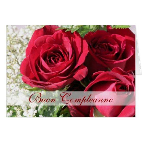 Italian Birthday elegant red roses Card