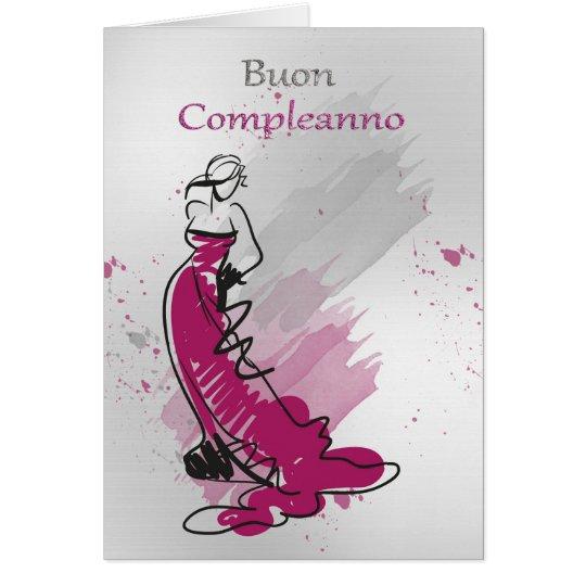 Italian Birthday Greeting With Female In A Stylish Card