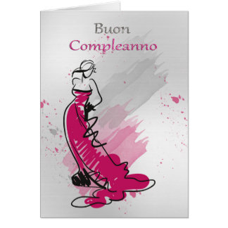 Italian Birthday Greeting With Female In A Stylish Greeting Card