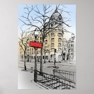 Italian boulevard in Paris Poster