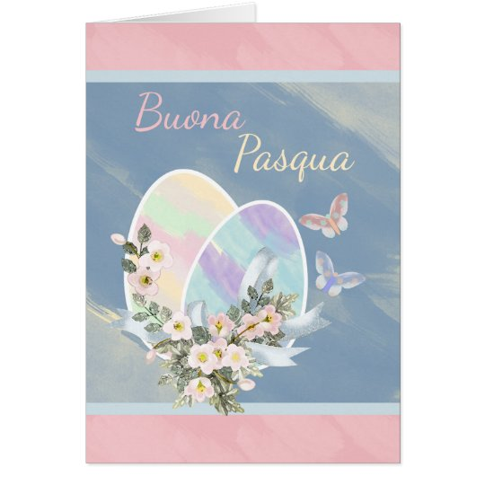 Italian - Buona Pasqua - Watercolour Easter Eggs Card