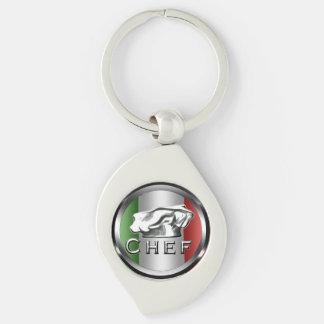 Italian Chef Charm Keychain Silver-Colored Swirl Key Ring