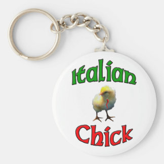 Italian Chick with Horn Basic Round Button Key Ring
