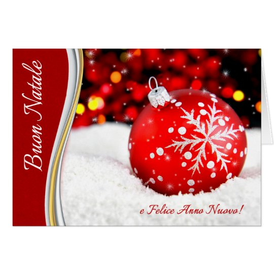 Italian Christmas Buon Natale! Red Snowflake Card
