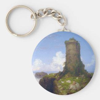 Italian Coast Scene with Ruined Tower -Thomas Cole Basic Round Button Key Ring